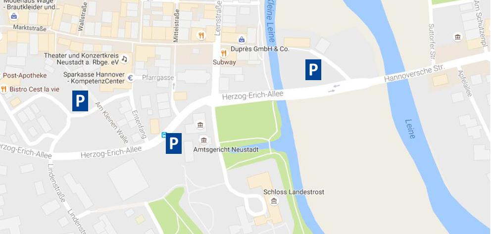 Parkmöglichkeiten am Schloss Landestrost